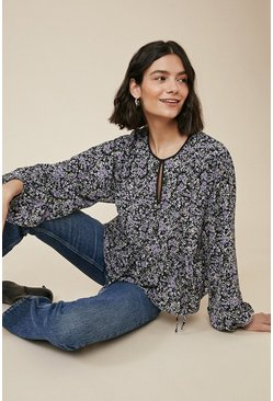 Black Ditsy Print Beaded Blouse