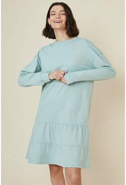 Green Tiered Drop Waist Sweat Dress