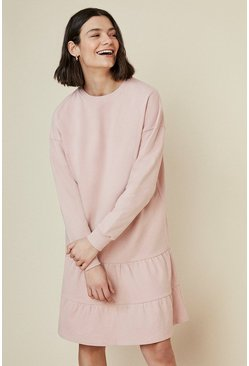Pink Tiered Drop Waist Sweat Dress