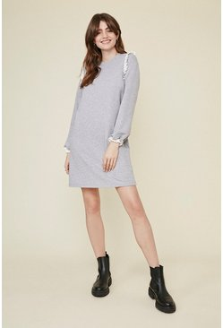 Grey marl Broderie Frill Sweat Dress