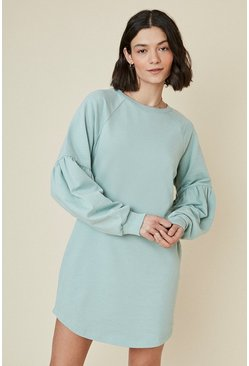 Green Balloon Sleeve Sweat Dress