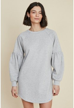 Grey marl Balloon Sleeve Sweat Dress