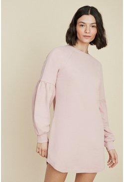 Pink Balloon Sleeve Sweat Dress