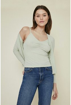 Sage Pointelle Jersey Ruched Cami