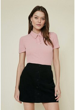 Pink Pointelle Jersey Frill Polo Top