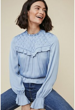 Blue Studded Yoke Blouse