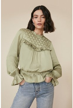 Green Studded Yoke Blouse