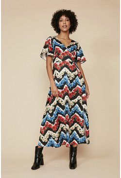 Multi Zig Zag Floral Midi Dress