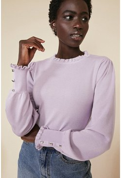 Lilac Frill Trim Heart Button Jumper