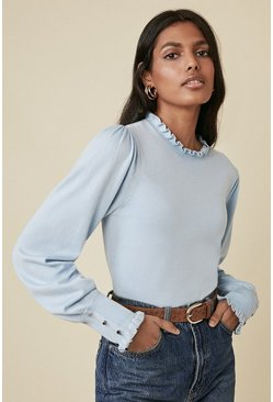 Pale blue Frill Trim Heart Button Jumper