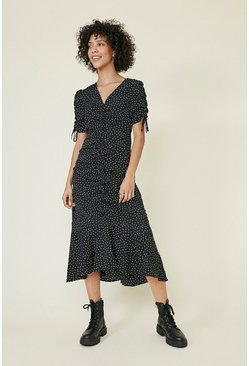 Blackwhite Printed Ruched Front Tie Sleeve Midi Dress