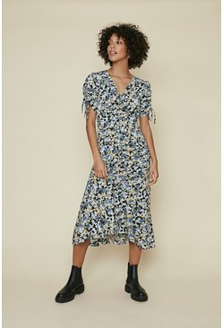 Multi Printed Ruched Front Tie Sleeve Midi Dress
