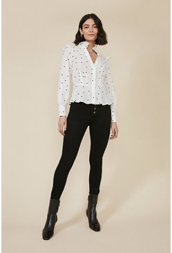 Blackwhite Heart Flocked Blouse