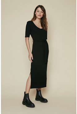 Black Soft Rib Belted Midi Dress