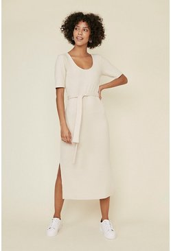 Natural Soft Rib Belted Midi Dress