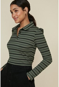 Khaki Rib Stripe Polo Top