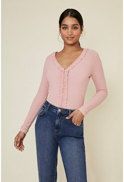 Pink Pointelle Jersey Frill V Neck Top