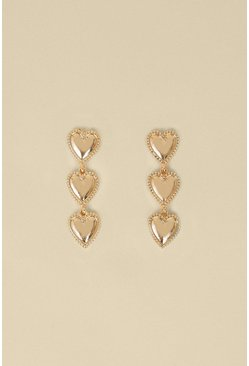 Gold Triple Heart Drop Earrings