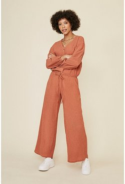 Rust Textured Wide Leg Trouser