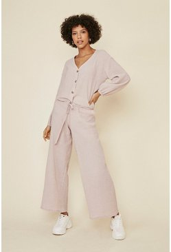 Soft pink Textured Wide Leg Trouser