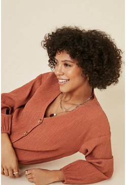 Rust Textured Drawstring Cardigan