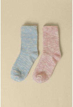 Multi Cosy Pink And Blue 2 Pack Socks