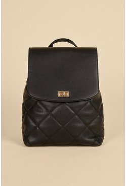 Black Quilted Pu Backpack
