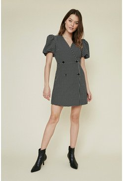 Blackwhite Jacquard Button Front Shift Dress