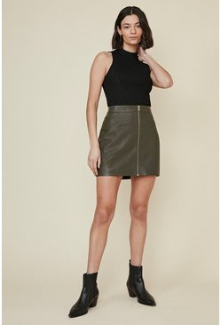 Khaki Leather Zip Front Mini Skirt