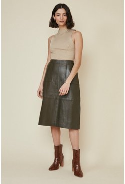 Khaki Leather Midi Skirt