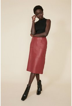 Rich red Leather Midi Skirt
