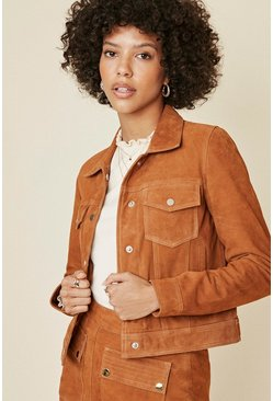 Tan Button Front Suede Jacket