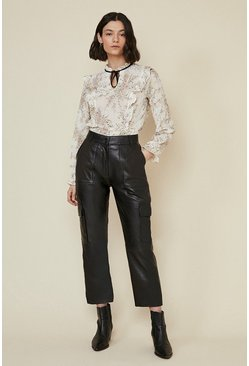 Black Leather Straight Leg Trousers