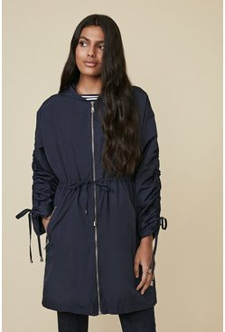 Dark navy Satin Look Ruched Sleeve Parka