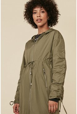 Light khaki Satin Look Ruched Sleeve Parka
