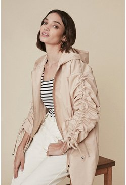 Sand Ruched Sleeve Parka
