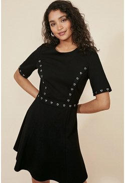 Black Heart Eyelet Ponte Skater Dress