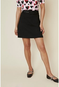 Black Premium Belted Ponte Skirt