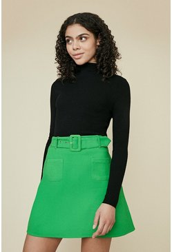 Bright green Premium Belted Ponte Skirt