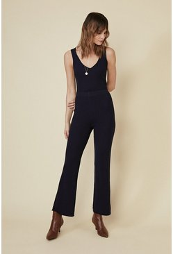 Navy Super Soft Rib Trouser