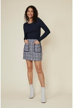 Multi Tweed Pocket Mini Skirt