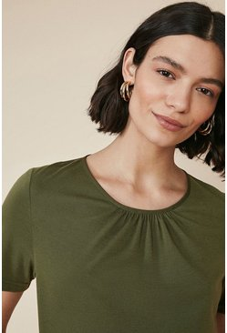 Khaki Gathered Woven Back Jersey T Shirt