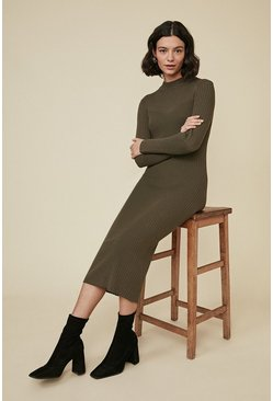 Khaki Super Soft Rib Dress
