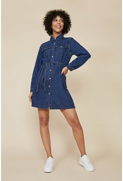 Dark wash Belted Denim Mini Dress