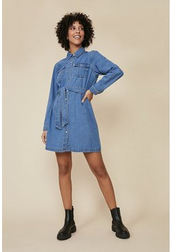 Mid wash Belted Denim Mini Dress
