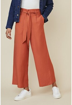 Burnt orange Linen Look Wide Leg Trouser