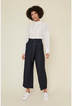Dark navy Linen Look Wide Leg Trouser