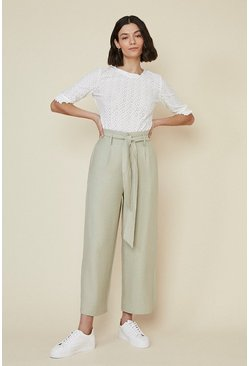 Sage Linen Look Wide Leg Trouser