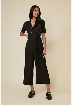 Black Linen Look Tie Detail Jumpsuit