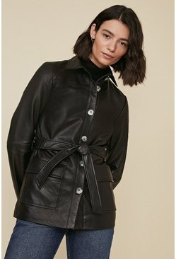 Black Leather Belted Shacket